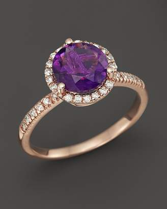 Bloomingdale's Amethyst and Diamond Halo Ring in 14K Rose Gold - 100% Exclusive