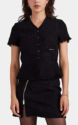 Alexander Wang Women's Metallic Wool-Blend Tweed Short-Sleeve Jacket - Black