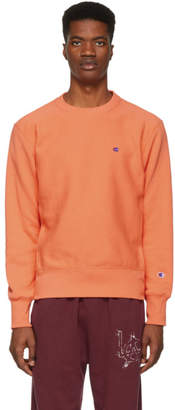 Champion Reverse Weave Orange Logo Sweatshirt