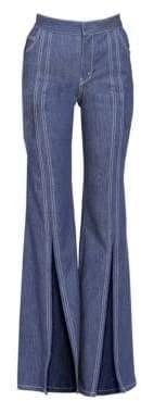 Chloé Soft Denim Front Slit Flare Jeans