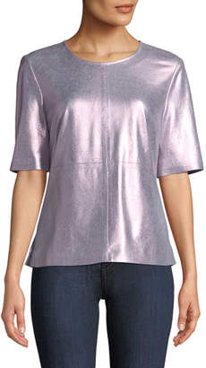 Neiman Marcus Leather Collection Metallic Suede Tee