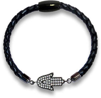 "Liza Schwartz Jewelry Braided Leather Bracelet ""Hamsa"""