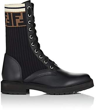 Fendi Women's Leather & Knit Combat Boots