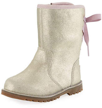 UGG Corene Metallic Suede Bow-Back Boots, Toddler