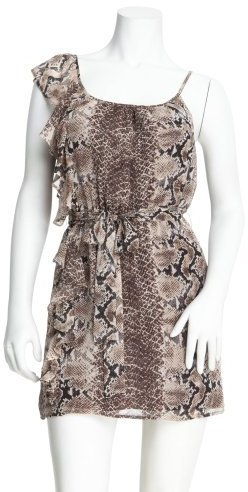 2b One-Shoulder Ruffle Snake Dress