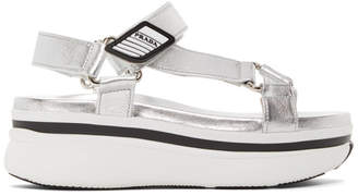 Prada Silver Platform Velcro Sandals