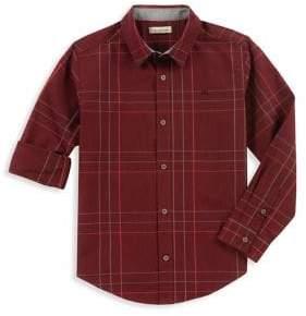 Calvin Klein Jeans Boy's Twist Windowpane Collared Shirt