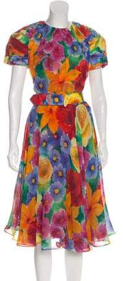Albert Nipon Silk Printed Dress