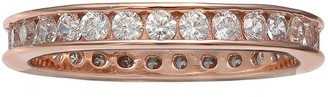 Primrose PRIMROSE 18k Rose Gold Over Silver Cubic Zirconia Eternity Band