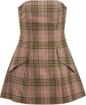 Maggie Marilyn I Believe In You Plaid Strapless Tweed Mini Dress Size