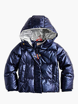 J.Crew crewcuts by Girls' Metallic Padded Jacket, Navy