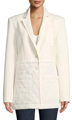 Tibi Notched-Lapel Two-Button Quilted Combo Oversized Blazer