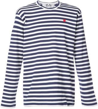 Comme des Garcons striped heart logo T-shirt