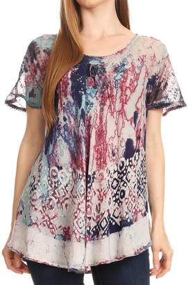 d2c2da949c7 Sakkas 18706 - Sara Womens Flowy Peasant Short Sleeve Top Blouse Tie-dye  Batik Embroidery