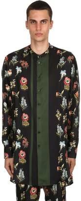 Oversize Floral Printed Silk Satin Shirt