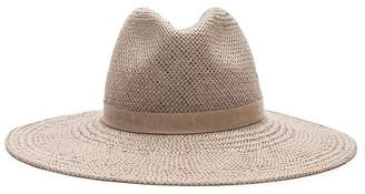 Janessa Leone Francesca Packable Straw Hat In Grey