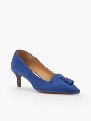 Talbots Erica Tasseled Kitten-Heel Pumps-Kid-Suede