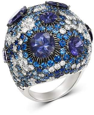Roberto Coin 18K White Gold Fantasia Blue Sapphire & Lolite Cocktail Ring with Diamond