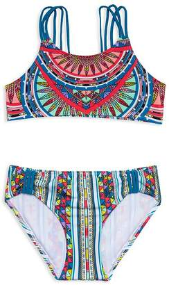56eacd3b34241 Gossip Girl Girls' Printed Two-Piece Swimsuit - Big Kid