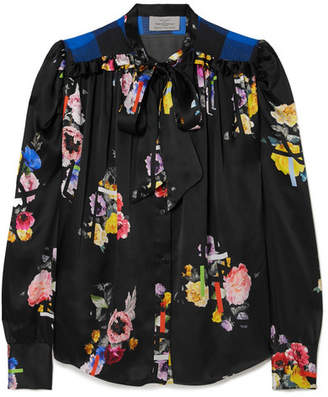 Preen by Thornton Bregazzi Evan Pussy-bow Floral-print Silk-satin Blouse - Black