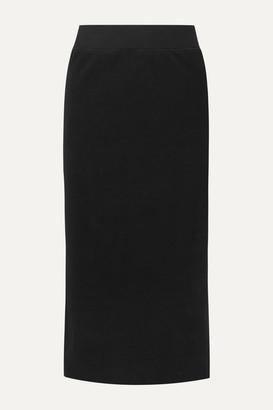 James Perse Ribbed Stretch Cotton-blend Midi Skirt - Black