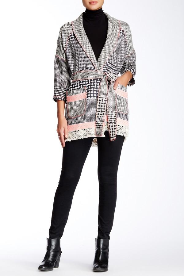 Gypsy 05Gypsy05 Belted Barre Jacquard Kimono Cardigan