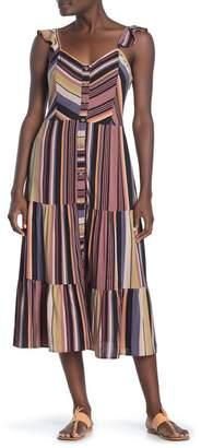 Susina Mixed Stripe Flutter Strap Midi Dress