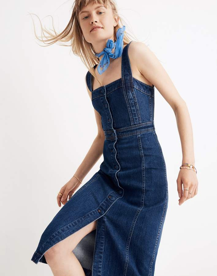 Madewell Denim Covered-Button Dress