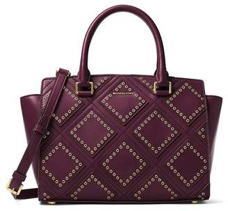 Michael Kors Selma Medium Diamond Grommet Leather Satchel - Plum - 30F6ADXS2L-633