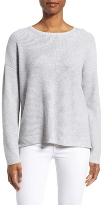 Women's Eileen Fisher Ribbed Organic Cotton Sweater $248 thestylecure.com