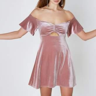 River Island Pink velvet ruched bardot mini skater dress
