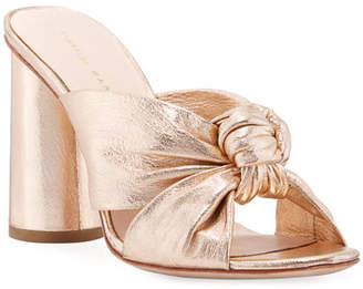 Loeffler Randall Coco Metallic Leather Knot Slide Sandal