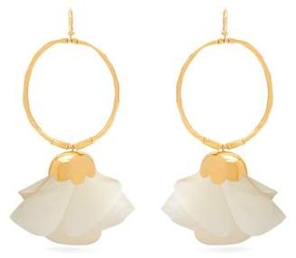 Elise Tsikis - Natura Silk Flower Gold Plated Hoop Earrings - Womens - White