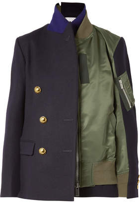 Sacai Paneled Wool-crepe And Shell Jacket - Midnight blue