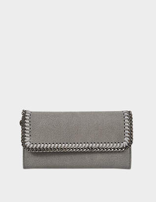 Stella McCartney Continental Falabella Flap Wallet in Light Grey Eco Leather