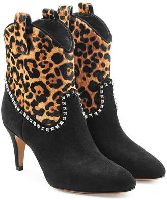 Marc Jacobs Embellished Suede Ankle Boots with Printed Pony Hair
