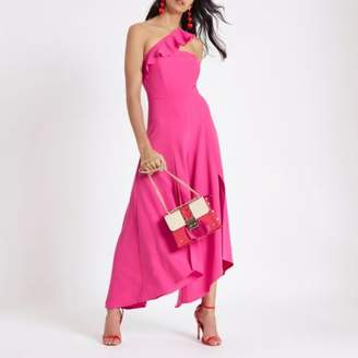 River Island Womens Pink asymmetric frill wide split leg jumpsuit