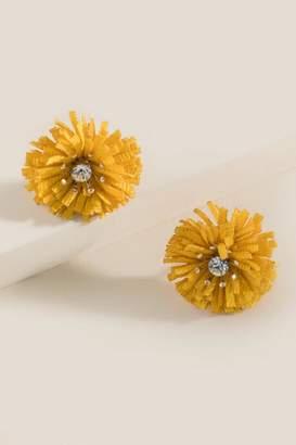 francesca's Kimberly Pom Stud Earrings - Marigold