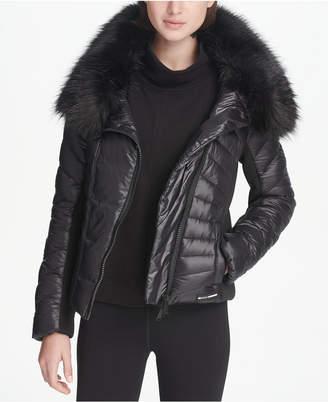 DKNY Sport Faux-Fur Collar Short Puffer Jacket