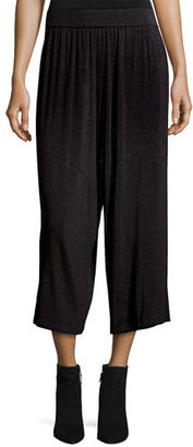 Eileen Fisher Cozy Jersey Wide-Leg Cropped Pants $198 thestylecure.com