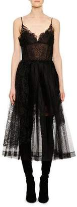 Ermanno Scervino V-Neck Thin-Strap Fit-and-Flare Lace Tulle Mid-Calf Dress