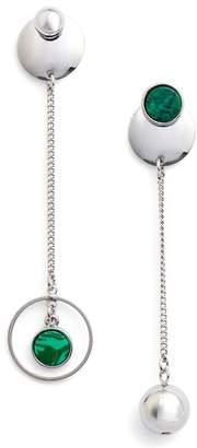 Danielle Nicole Orb & Chain Mismatched Malachite Statement Earrings