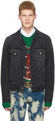 Gucci Black Denim 'L'Aveugle Par Amour' Jacket $1,880 thestylecure.com