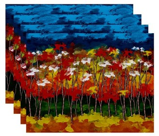 """Simply Daisy 18"""" x 14"""" Autumn Floral Print Placemats, Set of 4"""