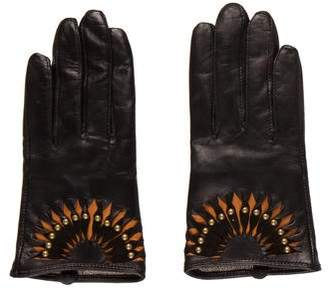 Neiman Marcus Studded Leather Gloves