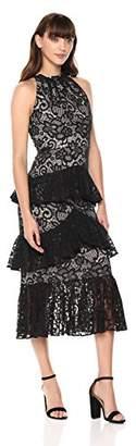 ML Monique Lhuillier Women's Lace Tiered Ruffle Dress Dress