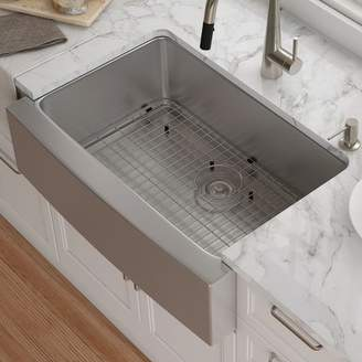 """Kraus 30"""" x 21"""" Farmhouse Kitchen Sink with Drain Assembly"""