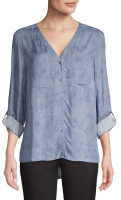 Jones New York V-Neck Button-Down Shirt