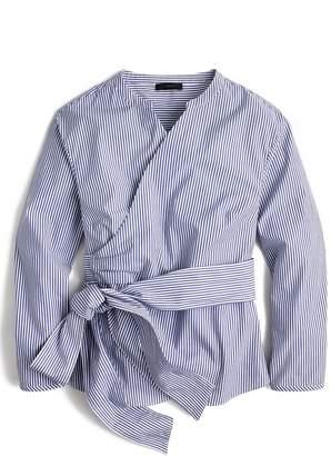 J.Crew Stretch Cotton Stripe Wrap Top