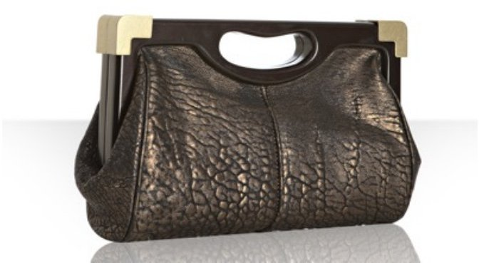 Rebecca Minkoff bronze pebbled leather 'Lovers' frame clutch